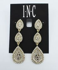 Elegant New Gold Pave Rhinestone Linear Drop Earrings by INC. #E1196