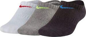 Nike Socks 3 Pack Trainer No Show Youth Junior Boys Girls Kids Size U.K 5 to 8