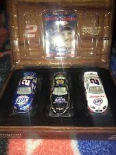 *Rare* Nascar Rusty Wallace Diecast 1:64 Miller Light Wooden Case 3 Car Set