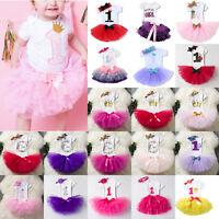 1st Birthday Girl Baby Princess Dress Romper Outfit Tutu Skirt Headband 3Pcs Set