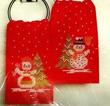 Bucilla Stamped Cross Stitch Xmas Mr & Mrs Snowman 2 Guest Towel Kit Christmas