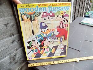 Donald Duck & Mickey Mouse Wooden Jigsaw Puzzle Disney Game Toy c1950s