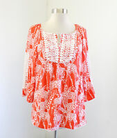 Crown and Ivy Orange White Giraffe Print Popover Blouse Size S Cutout Sleeve