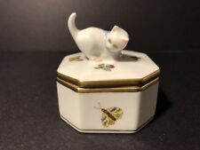 Beautiful Herend Porcelain Cat Kitty Trinket Box 6074