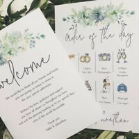 30 x double sided Personalised Wedding Welcome/Order of the Day guest info cards