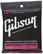 GIBSON GEAR SAG-BRS12 MASTERBUILT PREMIUM 80/20 BRASS ELECTIRC STRINGS .012-.053