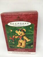 HALLMARK 2001 PORCELAIN KEEPSAKE GIFT BEARERS CHRISTMAS JOINTED BEAR ORNAMENT