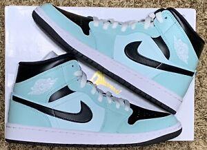 Nike Air Jordan 1 Mid Aqua Black Women's Size 9 | Men's 7.5 | BQ6472 300 DS