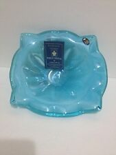 "Murano Style Art Glass Blue 9"" Tall Candy Dish Decorative Bowl Marked New"