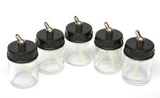 GLASS AIRBRUSH SUCTION FEED 1OZ BOTTLES & PUSH IN CONNECTOR - PACK OF FIVE