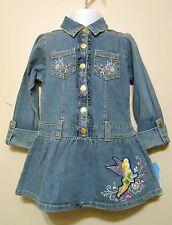 Disney Fairies Long Sleeve Denim Dropped Waist Tinkerbell Dress Blue 3T/3 NWT