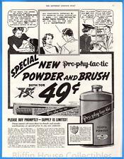 Vintage 1937 NEW Pro-Phy-Lac-Tic Powder & Brush Tooth Powder Original Print Ad
