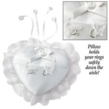 DELUXE WHITE RING BEARER PILLOW HEART-SHAPED WEDDING SALE New ROSES WASHable