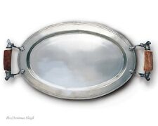Vagabond House - Pewter Parlor Serving Tray Plate Platter with Antler Handles