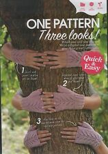 Knitting pattern Ladies Gilrs 3 in 1 Lacy Glove Pattern 3 3/4mm needles DK Wool
