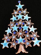 "COPPER MULTI BLUE RHINESTONE ENAMEL STAR CHRISTMAS TREE PIN BROOCH JEWELRY 2.5"""