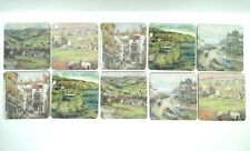 Collection of Vintage Coasters / Drink Mats - Countryside-Seaside Pictures x 10