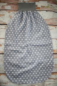 Leichter Sommer XXL Pucksack Schlafsack grau mit weißen Sternen ca. 2-4 Jahre
