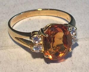 14k Gold Ring Dark Citrine 10x8 mm & 4 Lab Diamonds  Size 7US  Total Weight 3.8g