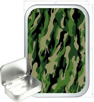 Woodland Camouflage Gift Box,150ml Silver Hinged Tin,Tobacco Tin, Storage Tin