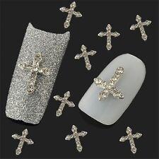 10Pcs 3D Crystal Cross Alloy Rhinestone Tips Nail Art Slices DIY Decorations New