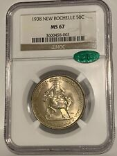 1938 New Rochelle Commemorative Silver Half Dollar NGC MS 67- Mint State 67 CAC