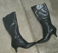 Bandolino Lamari Black Leather Heeled Boots Fall Winter Fancy Zip Up Size 7 M