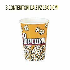 12 CONTENITORE PER POP CORN  IN CARTONCINO  3 CONF. DA  3 PZ 15 X 9 cm