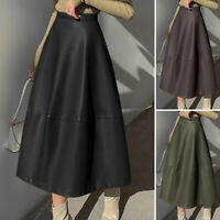 UK Womens Winter Leather PU Skirt Dress Ladies Gypsy Long Party A-Line Maxi 8-26