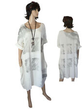 Gr.50/52 Kleid Baumwollkleid Sommerkleid Kurzarmkleid Weiß Lagenlook ITALIEN