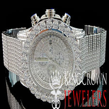 Mens Solid Stainless Steel Simulated Diamond Watch White Gold Finish 48MM BR-02