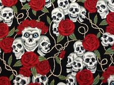 RPG609A Rose Tattoo Rare Skull Rose Blue Eyes Grateful Dead Cotton Quilt Fabric
