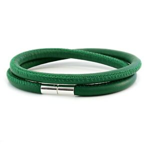 Green Leather Wrap Bracelet-925 Sterling Silver Clasp-Genuine 5mm Nappa Leather