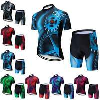 Men's Cycling Gear Set Short Sleeve Cycle Jersey Top and Padded Shorts Kit S-5XL
