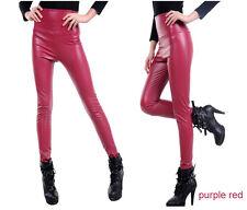 New women slim Winter High Waist warm velvet Artificia leather leggings pants