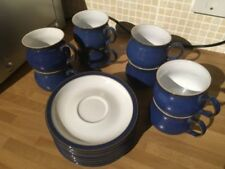 Denby Blue Pottery Cups & Saucers