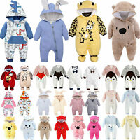 Newborn Toddler Baby Girl Boy Hooded Romper Jumpsuit Winter Outfit Clothes 0-24M