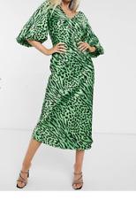 ASOS DESIGN Satin Bias Green Animal Print Midi Dress with Puff Sleeves- Size: 10