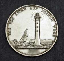 "1800s, Germany. Silver ""Lighthouse & Ship"" Religious Confirmation Medal. XF-AU!"