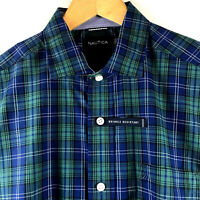 Nautica Mens Wrinkle Resistant L/S Estate Blue Plaid Shirt Medium NEW $69.50