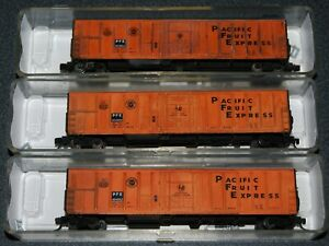 3-Red caboose N-Scale 57' PFE Mech. Reefer-custom weathered-1 lot =3 diff #'s