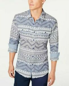 New American Rag Gray Aztec Geometric, Long Sleeve Front Buttons Shirt Size L