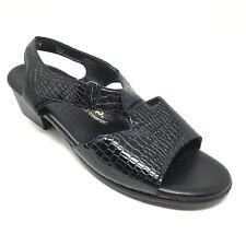 Women's SAS Strappy Sandals Shoes Size 9.5W Wide Black Croc Print Patent H14
