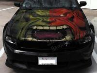 Vinyl Motorhaube Graphics Decal Der unglaubliche Hulk Gesicht Aufkleber