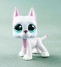 """3"""" littlest pet shop  LPS338 figure pink lavender great dane lilac dog blue eyes"""