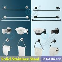 Towel Rail Ring Hook Rack Soap Dish Paper Roll Holder Solid SUS304 Drill Free