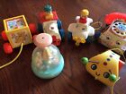6 Vintage Fisher Price Toys Chatter Phone,Bug,Push Truck & Plane, Merry Go Round