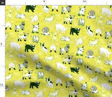 Goat Yellow Modern Baby Nursery Decor Chevre Fabric Printed by Spoonflower BTY
