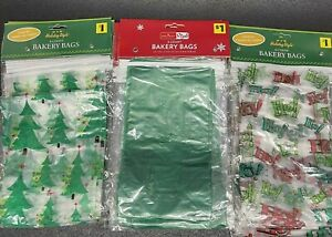 60 Christmas Cello Bags for Bakery, Cookies & Treats Green Holiday Designs