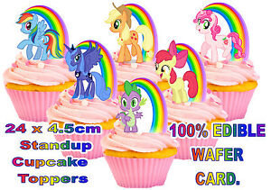 24 MY LITTLE PONY Rainbow Birthday STAND UP Cup Cake Edible Wafer Rice Toppers